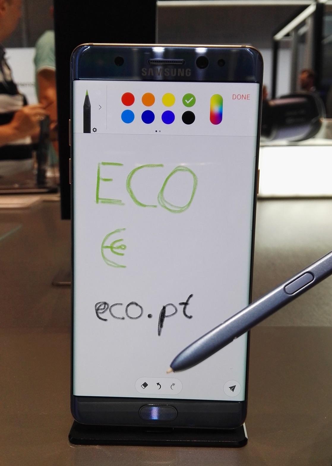 Um Samsung Galaxy Note 7 em exposição na feira de tecnologia IFA, em Berlim