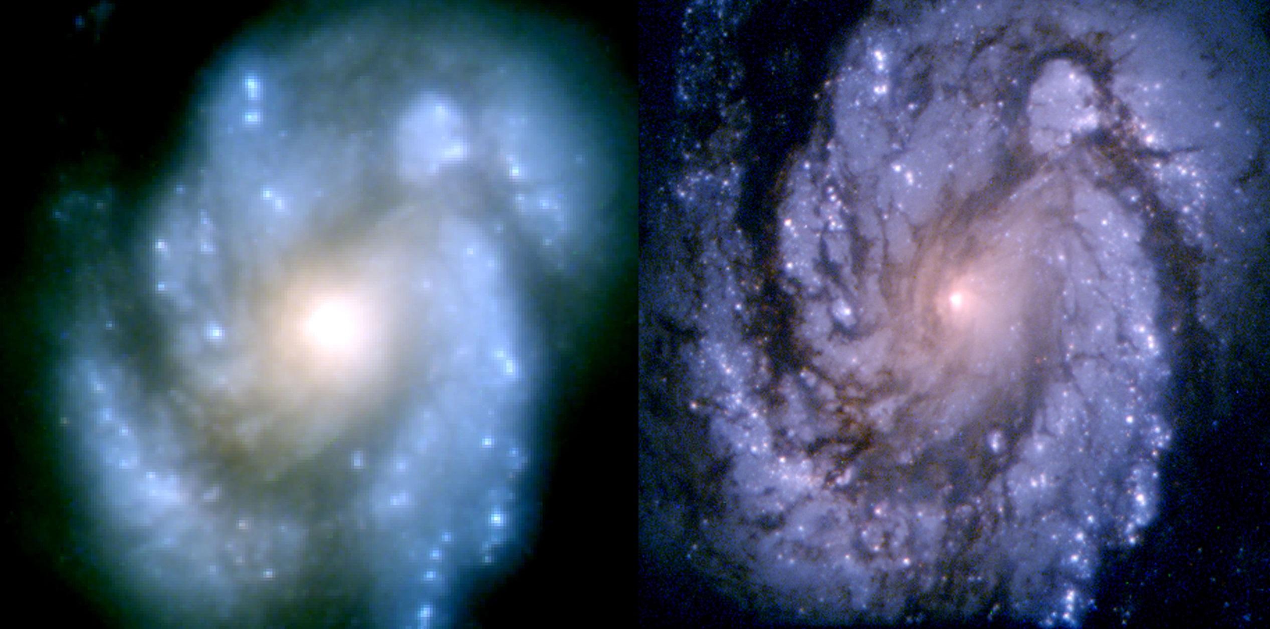 A galáxia espiral M100 fotografada antes (esquerda) e depois de o erro no espelho do Hubble ter sido compensado.