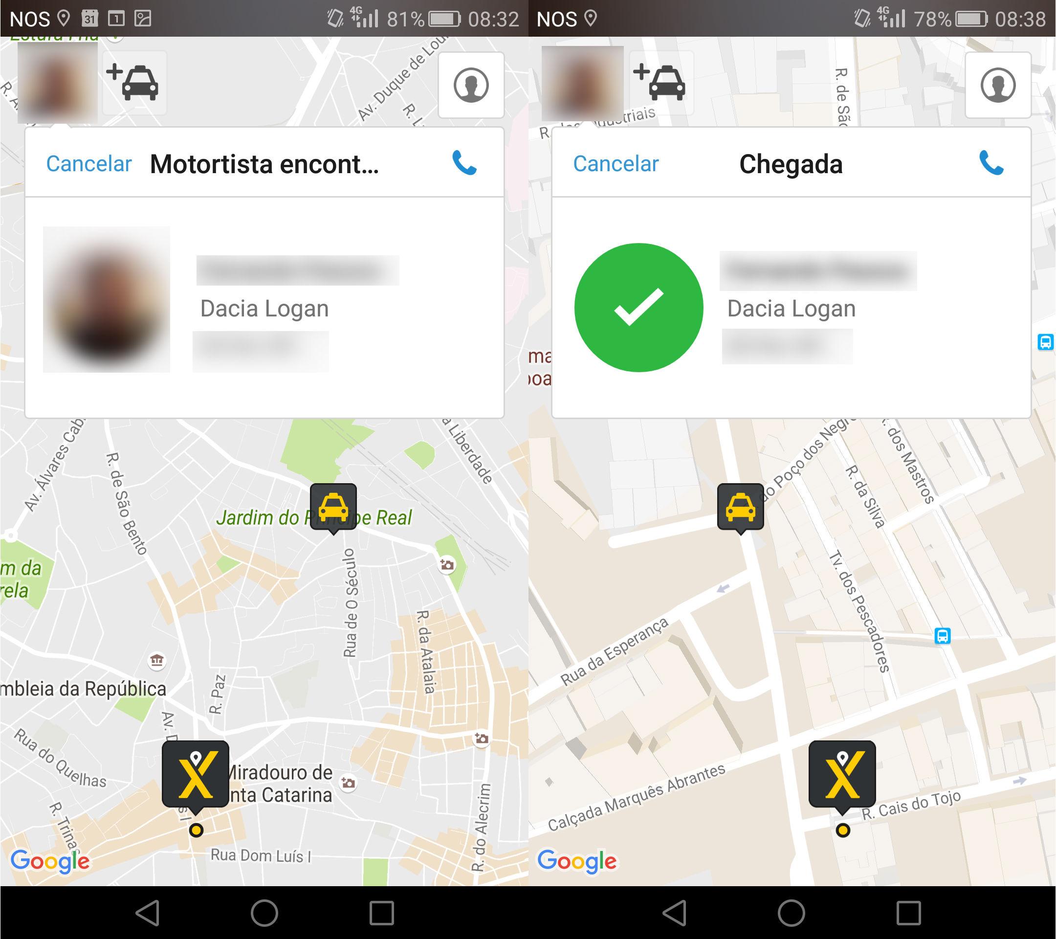 O momento em que a aplicação encontrou um taxista, e a chegada deste a Santos