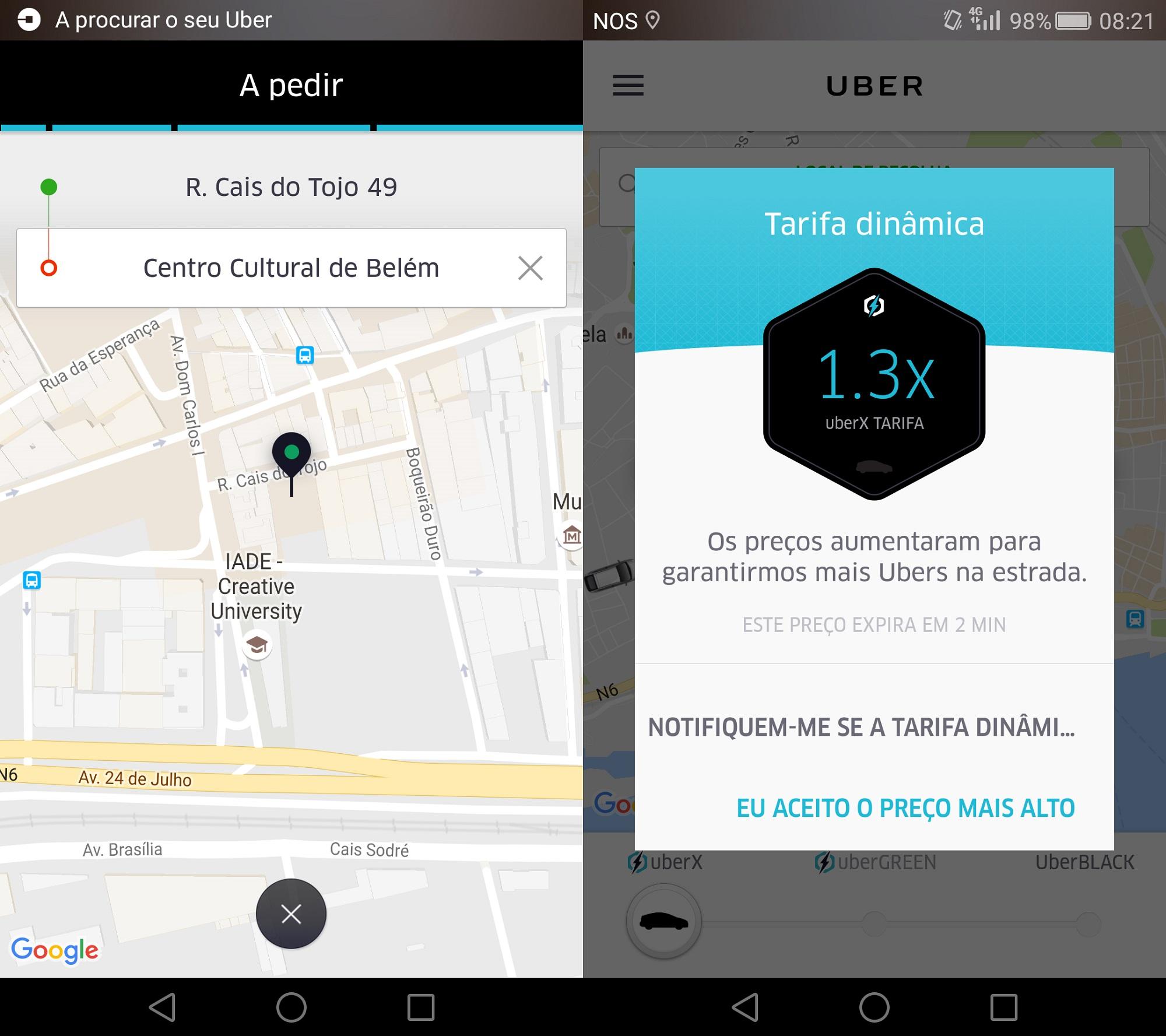 O momento em que chamei o Uber e aceitei as tarifas dinâmicas