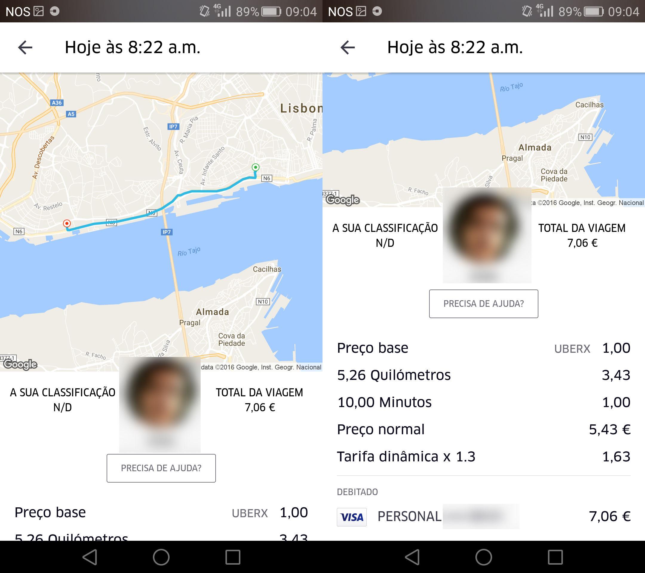 À esquerda, o mapa com o percurso. À direita, os detalhes da viagem