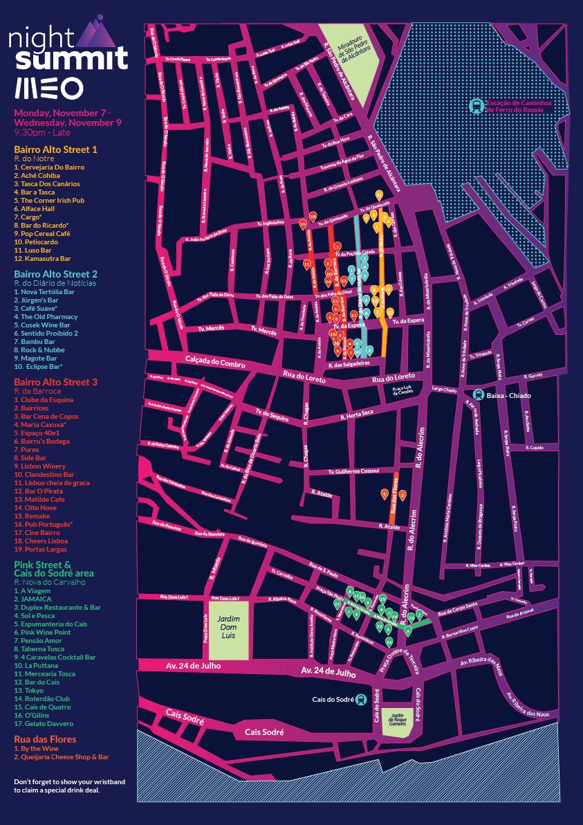 As zonas da cidade por onde os participantes vão andar, depois das conferências.