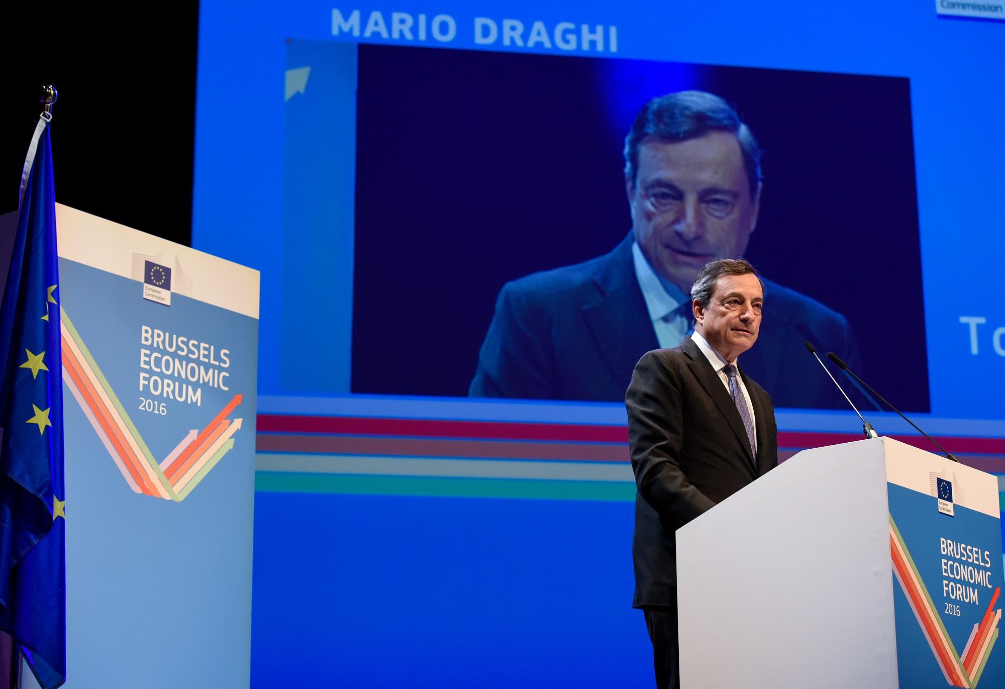Mario Draghi at the podium