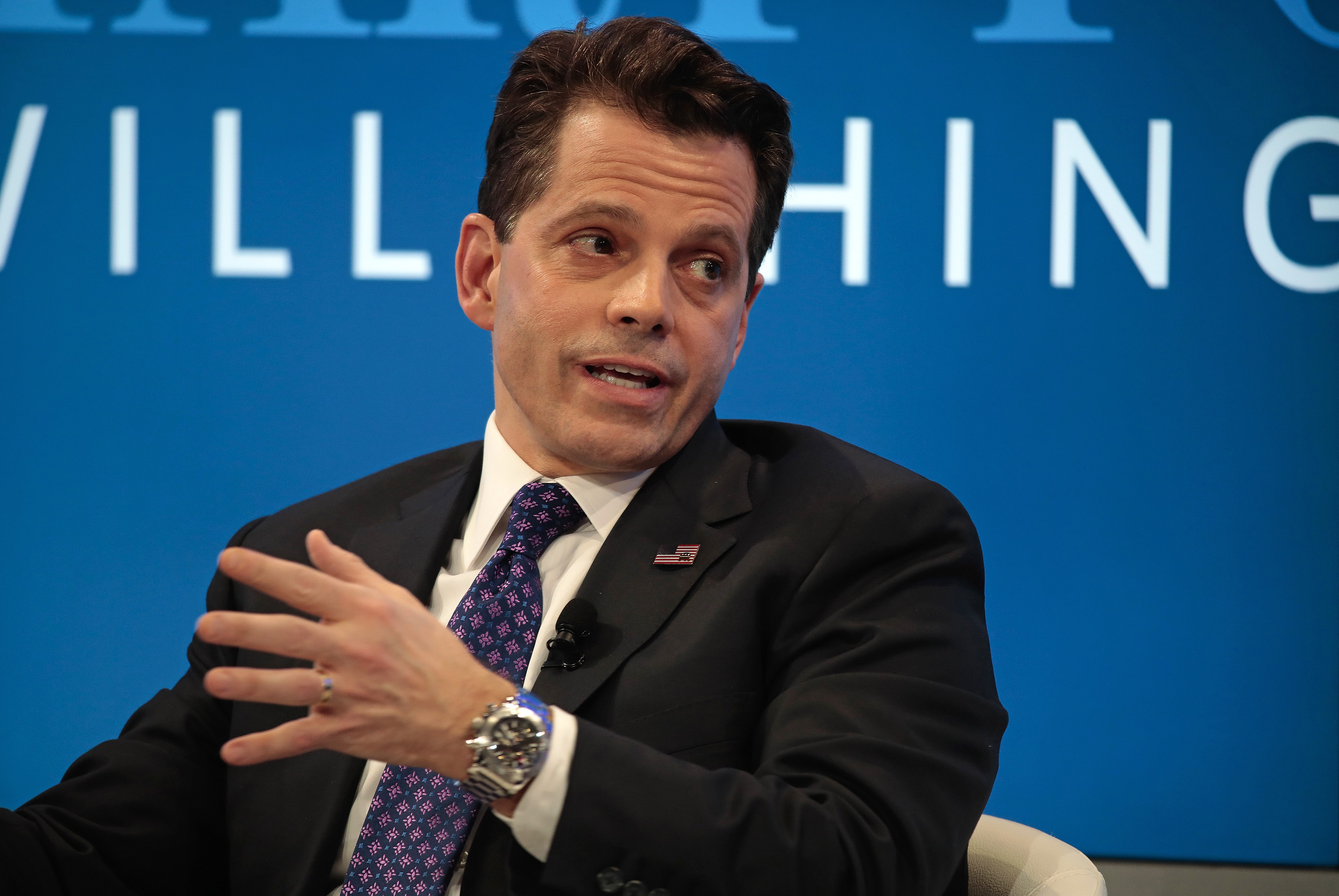 Anthony Scaramucci, SkyBridge Capital Founder and aide to U.S. President-elect Donald Trump, gestures as he speaks during a panel session at the World Economic Forum (WEF) in Davos, Switzerland, on Tuesday, Jan. 17, 2017. World leaders, influential executives, bankers and policy makers attend the 47th annual meeting of the World Economic Forum in Davos from Jan. 17 - 20. Photographer: Jason Alden/Bloomberg