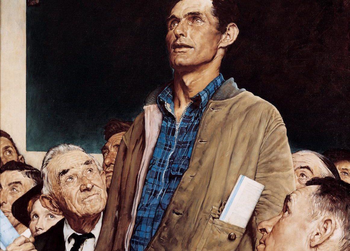 """""""Liberdade de expressão"""", pintado por Norman Rockwell em 1943."""