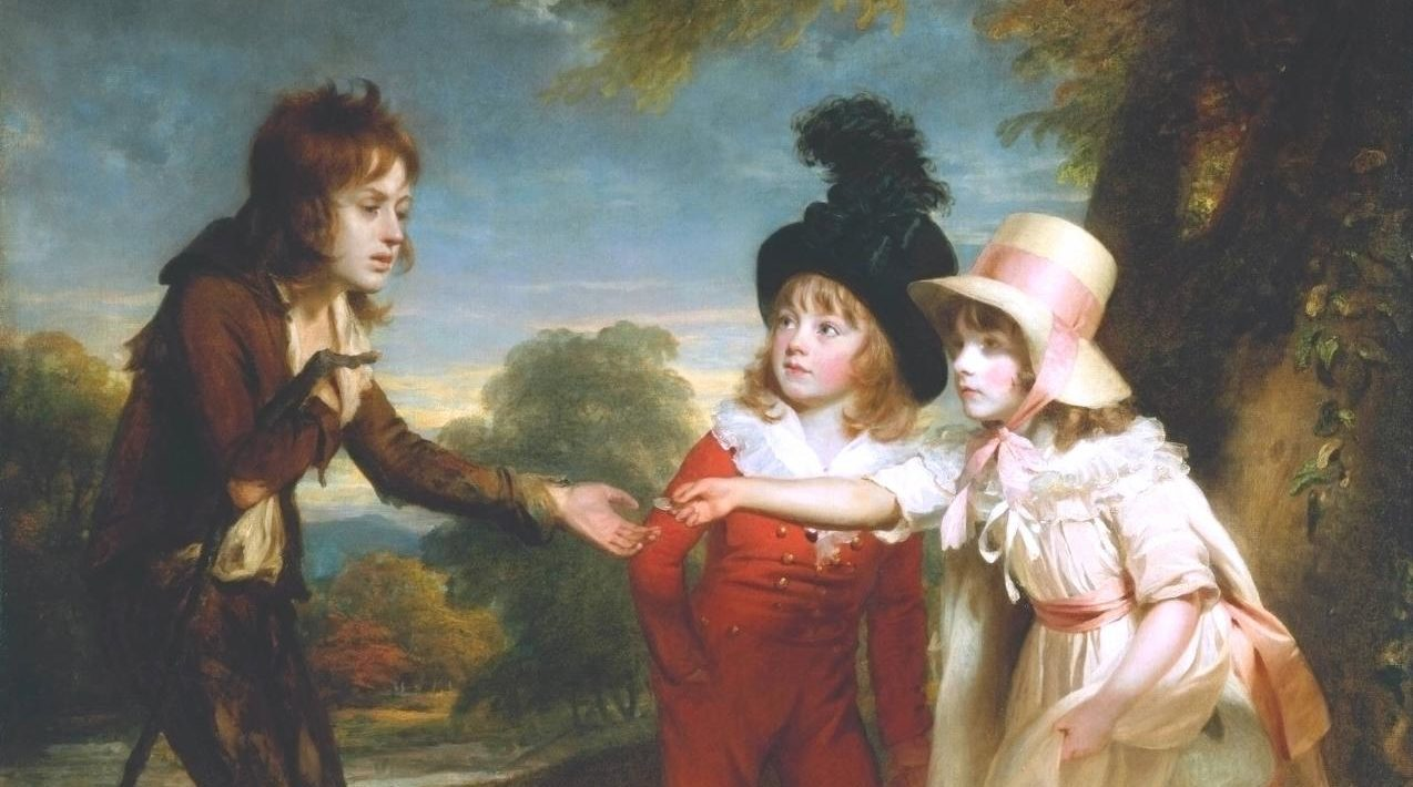 'Portrait of Sir Francis Ford's Children Giving a Coin to a Beggar Boy', pintado por William Beechey em 1793.