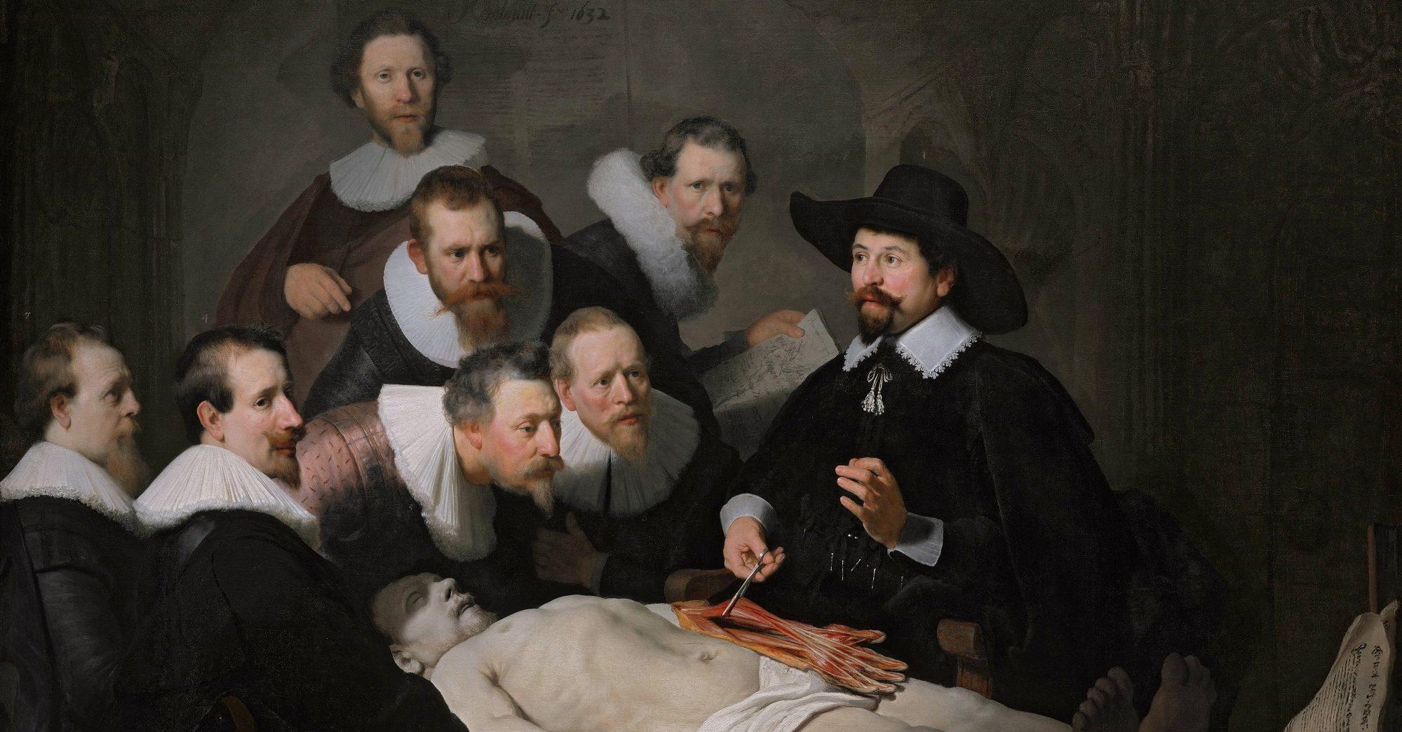 """""""A Lição de Anatomia do Dr. Tulp"""", pintado por Rembrandt em 1632."""