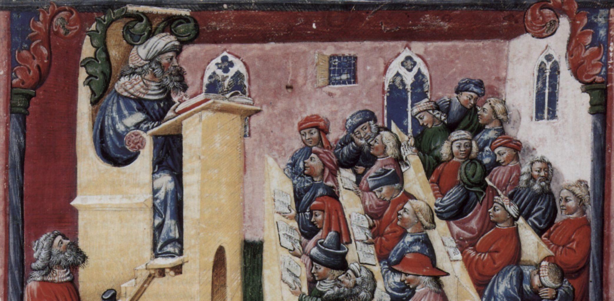 Ilustração de uma universidade, 1350, assinada por Laurentius a Voltolina.