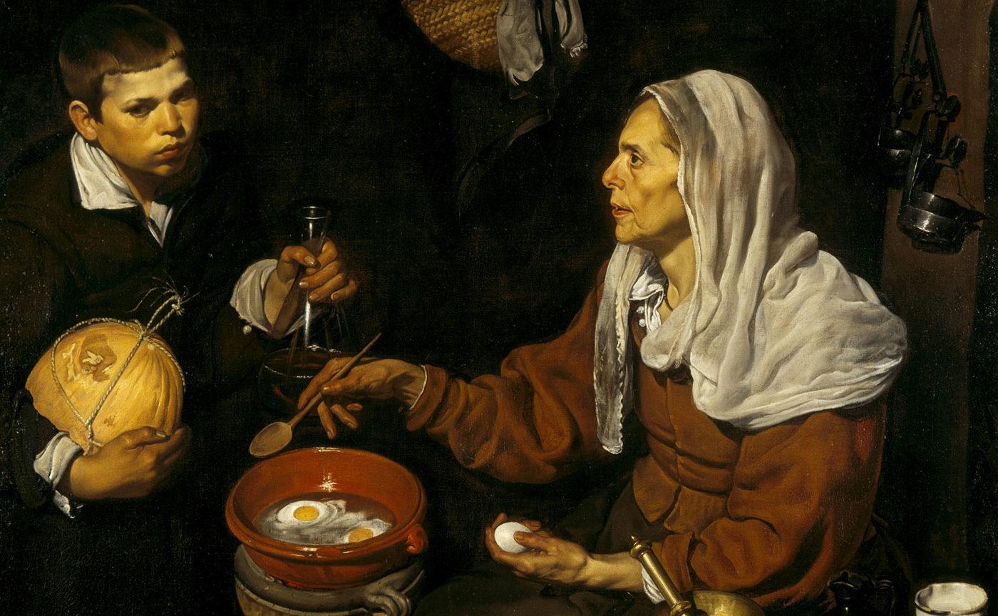 """""""Velha fritando ovos"""", de Diego Velázquez, pintado em 1618."""