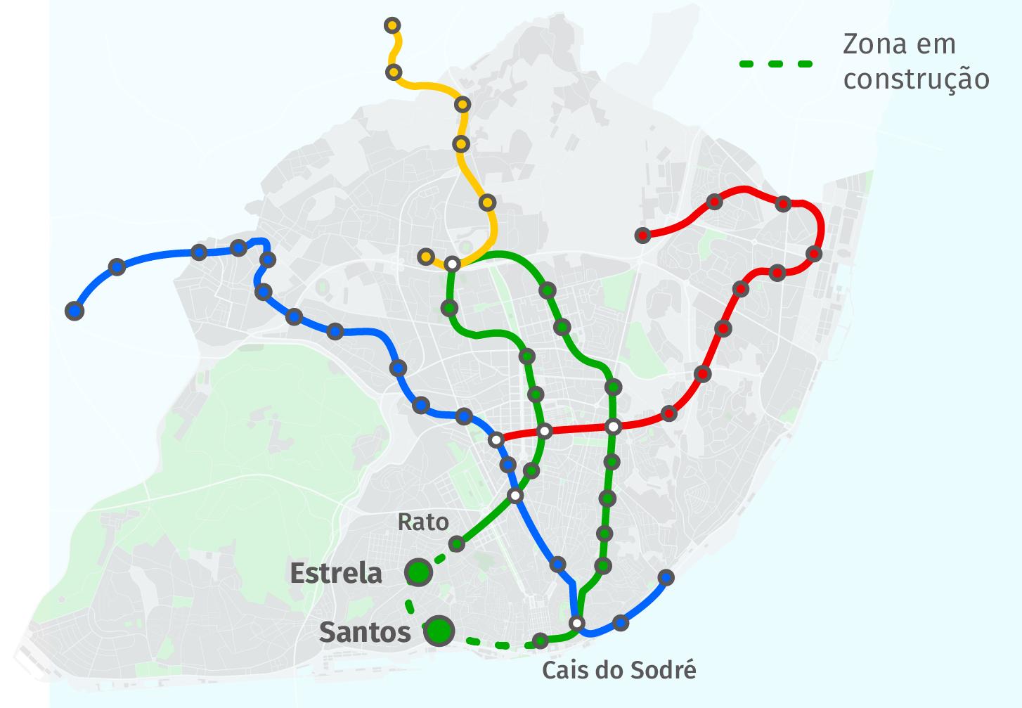 estrela lisboa mapa Metro prolonga rede até Santos e Estrela. Veja o mapa – ECO estrela lisboa mapa