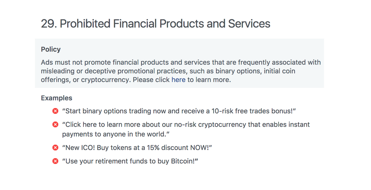 Prohibited Financial Products and Services, Facebook